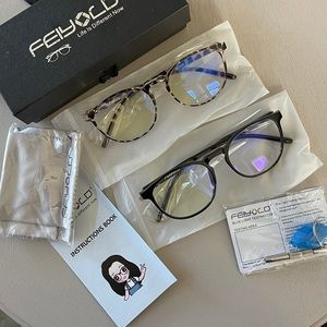 2 Blue Light Blocking Glasses Computer Use Unisex